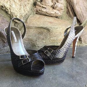 Charles David Embossed Leather Reptile Heels